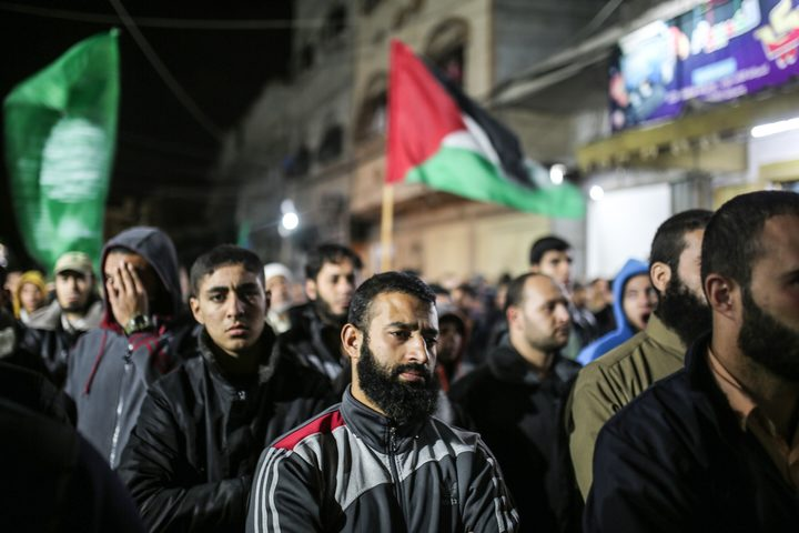 A protest in Gaza City  against the US move to recognise Jerusalem as the capital of Israel.