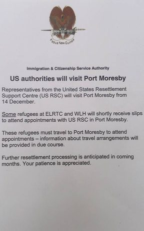 A note posted for Manus Island refugees.