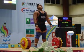 Samoa's Lauititi Lui set new Pacific Games records in the snatch, clean and jerk and total.