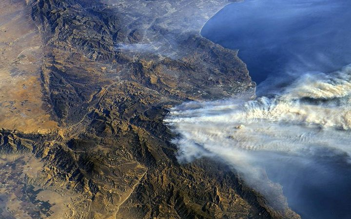 Southern California wildfires seen from the International Space Station.