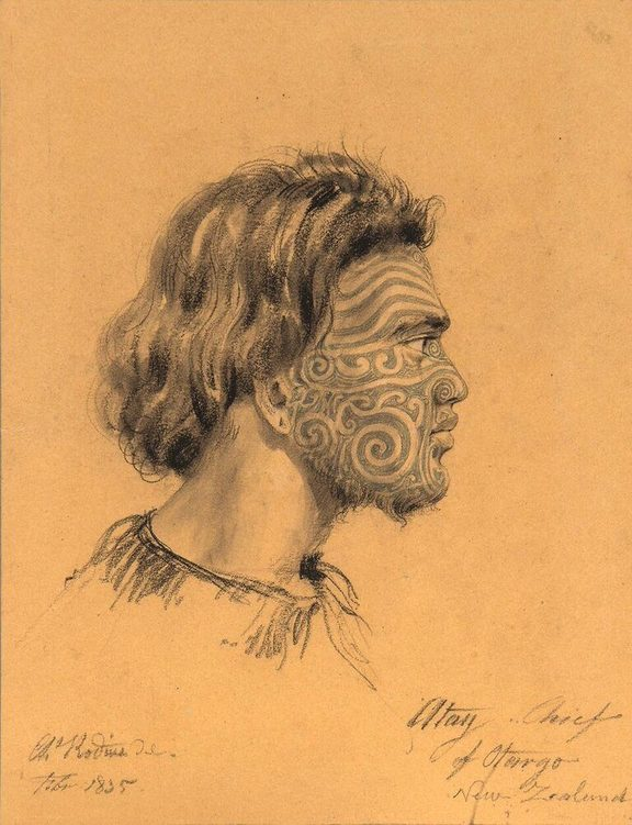 German-born artist Charles Rodius drew this portrait of a young Maori Ngai Tahu chief in 1835.