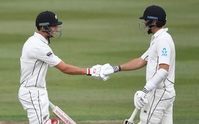 Trent Boult, left, and Tim Southee at the crease together.