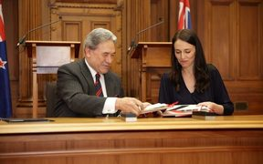 Winston Peters and Jacinda Ardern