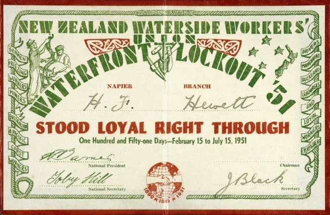 An image of a certificate from the New Zealand Waterside Workers' Union :Waterfront Lockout '51