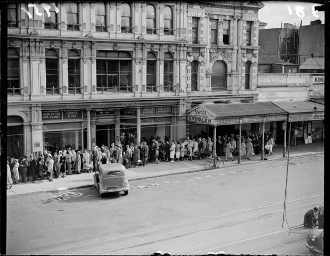 A Photo Of People Queuing Outside The Gear Meat Company In April 1951 Its Thought