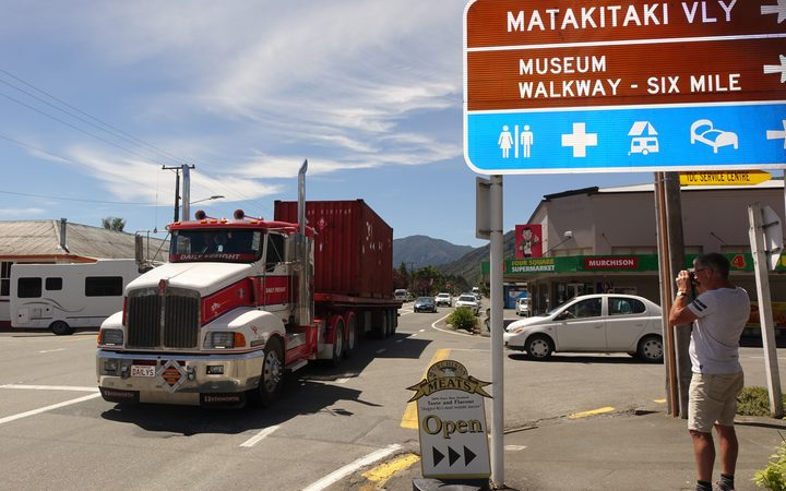 A main street in Murchison which has had a big increase in the number of trucks since SH1 through Kaikōura closed.