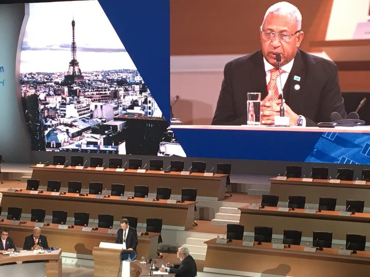 Fiji's prime minister, Frank Bainimarama, at the One Planet Summit in Paris.