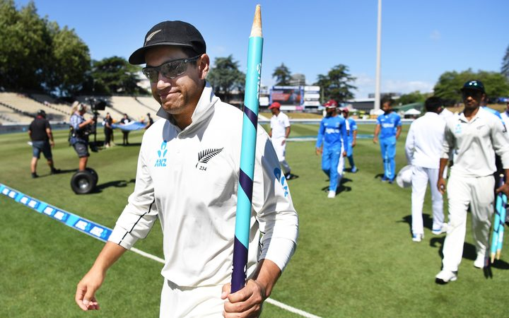 Ross Taylor leaves the field after the Black Caps second test win over the West Indies in Hamilton.