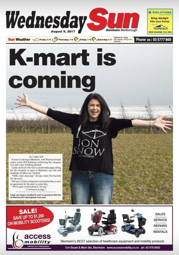 A Facebook campaign to bring K-Mart to Blenheim makes the front page. genuine news - or marketing in disguise?