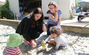 Prime Minister Jacinda Ardern at the Point Chevalier Playcentre.