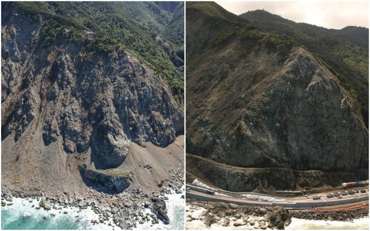 Ohau Point on SH1 north of Kaikōura immediately after the November 2016 earthquake, at left, and now.