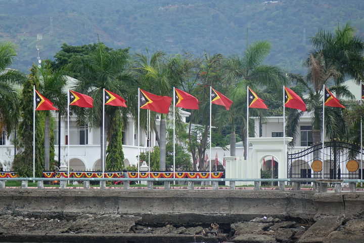 Timor Leste celebrates two independence days. Here flags fly to mark the 1975 proclamation of independence from Portugal. Indoenisa invaded nine days later.