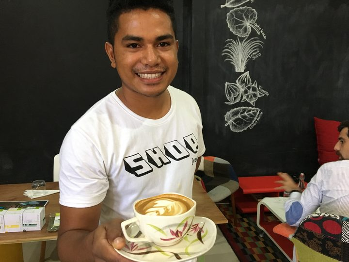 Tozy Correia Goncalves comes from a coffee farm. He's learnt barista skills at the Agora Cafe in Dili.