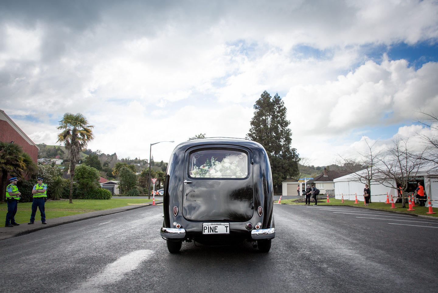 The hearse transport Colin Meads at his funeral in Te Kuiti.