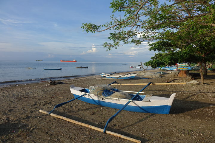Traditional boats on the Dili foreshore