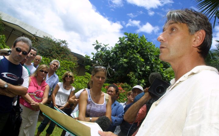 Philippe Couraud believes his brother was the victim of a political assassination. Here, he is pictured in 2004 outside a court in Papeete, after demanding an investigation.