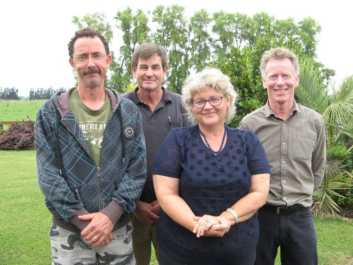 Edgecumbe dairy farmers Greg Malcolm,Alan Law,  Consultant Tonya Greig, Rural Support Trust coordinator Patrick Andrew