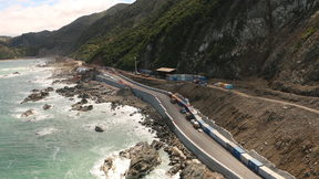 The seawall along a section of State Highway 1 north of Kaikōura.