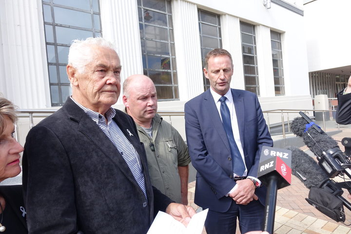 Outside court, from left, Verity McLean's father Bob Barber, Garry Duggan and Southern District police criminal investigations manager Detective Inspector Steve Wood, speak to media