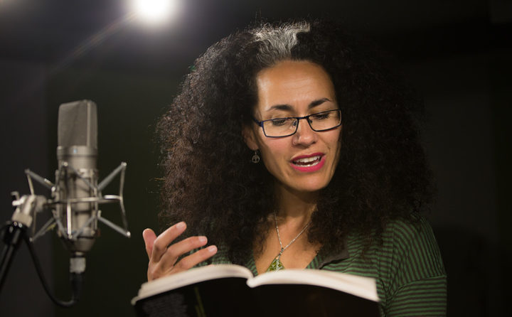 Selina Tusitala Marsh reading one of her poems in the RNZ Auckland studio.