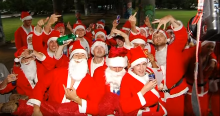 Members of Santarchy pose for a photo, Auckland 2005