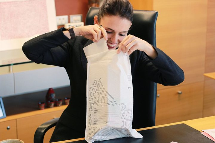 The Prime Minister Jacinda Ardern sending off her NZ Secret Santa