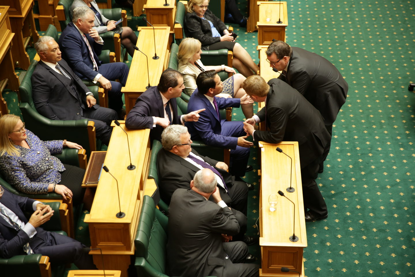 National and Labour front beaches talk on  the first day of the 52nd Parliament.