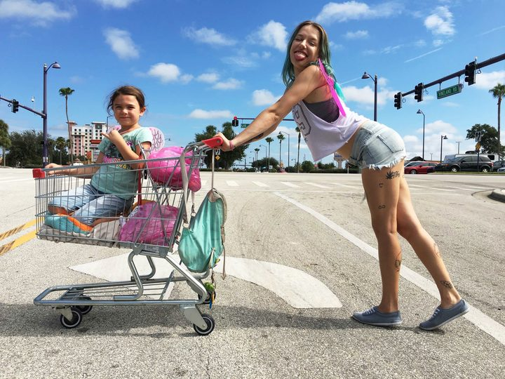 Brooklynn Prince as Moonee and Bria Vinaite as Halley in Sean Baker's The Florida Project.