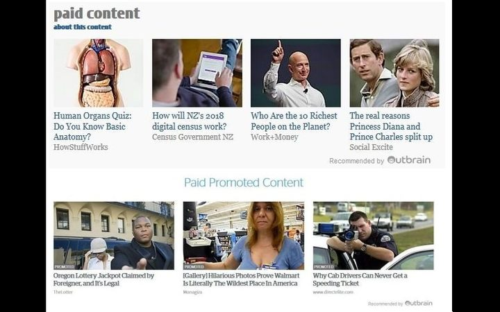 Examples of Outbrain stories found on the NZ Herald and Stuff websites, with new 'paid content' headings added after the Press council ruling.