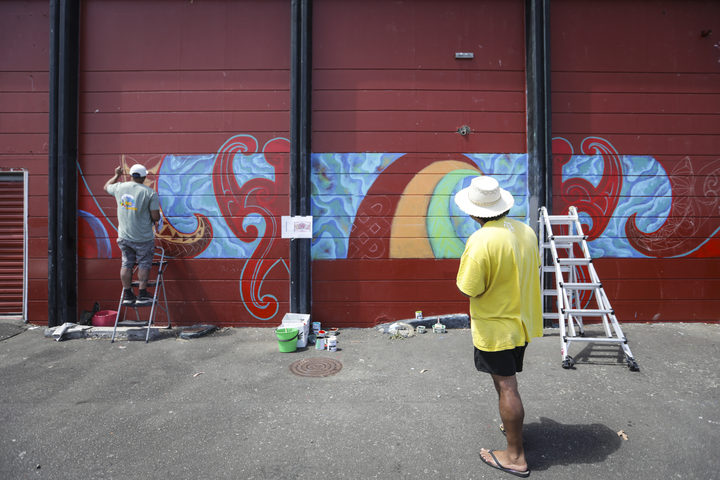 Jack Kirifi and Moses Viliamu have been commissioned by the Porirua Council to brighten up the wall of the Waitangirua Mall along with 5 other artists.