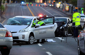 The scene of the crash on Symonds Street.