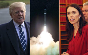 US President Donald Trump, a missile launch and Prime Minister Jacinda Ardern.