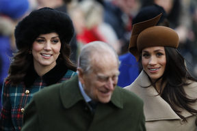(L-R) Britain's Catherine, Duchess of Cambridge, Britain's Prince Philip, Duke of Edinburgh and US actress and fiancee of Britain's Prince Harry Meghan Markle (R) arrive to attend the Royal Family's traditional Christmas Day church service.