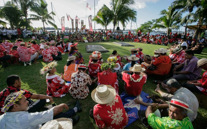 A gathering in 2016 in Papeete to commemorate the 50th anniversary of the first nuclear test carried out in Moruroa on July 2, 1966.