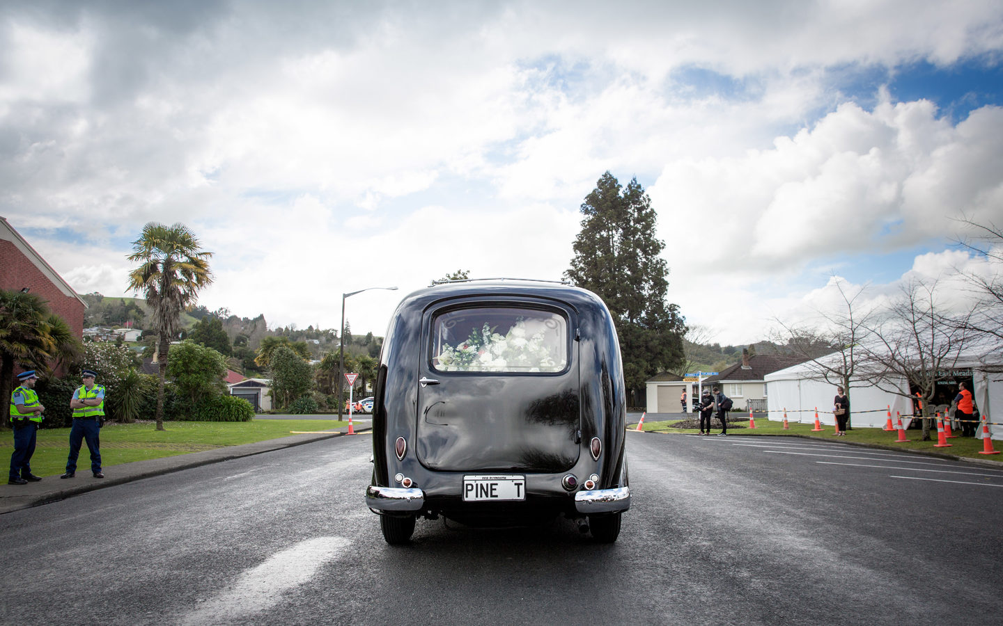The hearse transporting Colin Meads at his funeral in Te Kuiti.