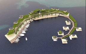 A bird's eye view of the floating island project planned for Tahiti