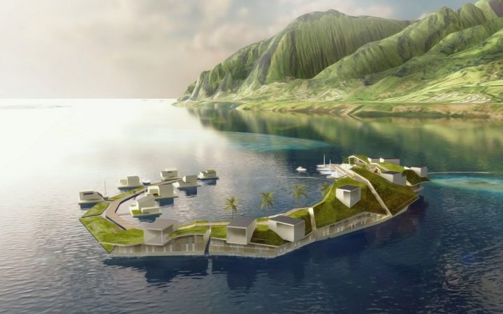 A concept for the floating island project in French Polynesia