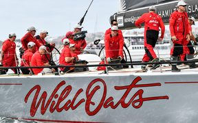 Wild Oats XI on Sydney Harbour at the start of the race.