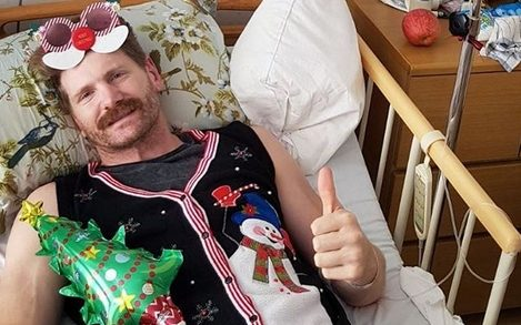 Adam Thomson recovers in hospital in Tokyo.