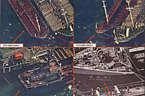 The US says these spy satellite images taken in October showed a North Korean vessel trying to conduct a ship-to-ship transfer.