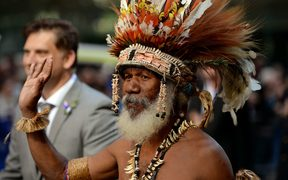 "A Papua New Guinean ""Fuzzy Wuzzy Angel"" participates in the Anzac Day march through Sydney on April 25, 2013."