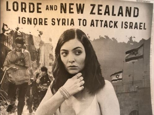 A full-page ad taken out in the Washington Post by a pro Israel group calling singer Lorde a'bigot
