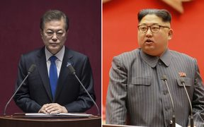 South Korean president Moon Jae In, and North Korean leader Kim Jong Un.