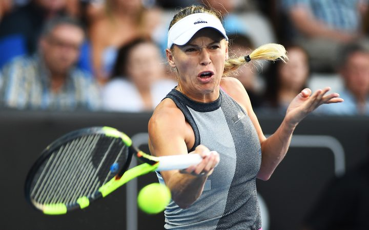 Caroline Wozniacki during her opening match at the the ASB Classic.