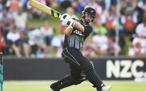Colin Munro in action in the third T20 against the West Indies.