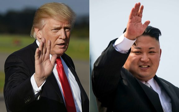 (COMBO) This combination of pictures created on October 1, 2017 shows, US President Donald Trump at Morristown, New Jersey, Municipal Airport on September 15, 2017; and North Korean leader Kim Jong-Un waving following a military parade in Pyongyang on April 15, 2017.