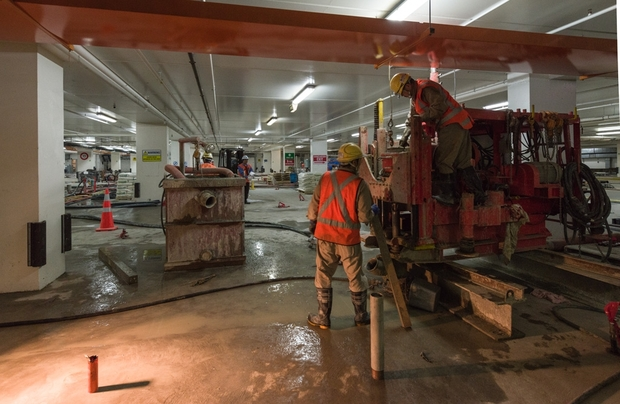 Work begins on re-levelling the earthquake-damaged Christchurch art gallery.