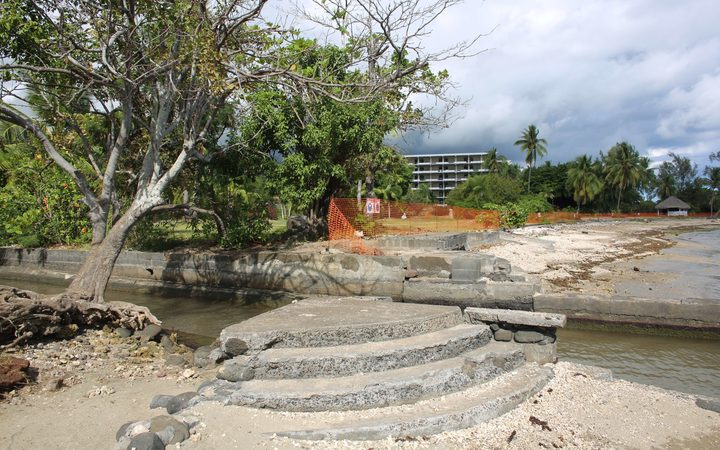 "A picture shows the planned construction site of a tourism complex named ""Mahana Beach"",15 km south of Papeete, in French Polynesia, on July 19, 2014."