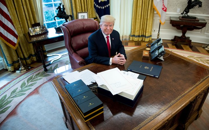 US President Donald Trump in the Oval Office of the White House.