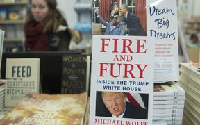 "A copy of the book ""Fire and Fury: Inside the Trump White House"" by Michael Wolff sits on display at a bookstore in Washington, DC on January 5, 2018."